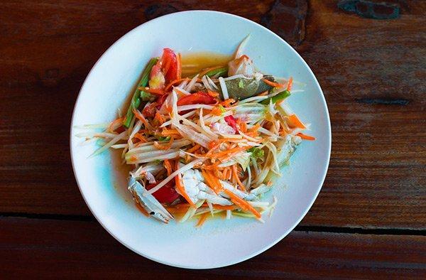 Insalata Papaya Papaya Salad Cucina Thailandese